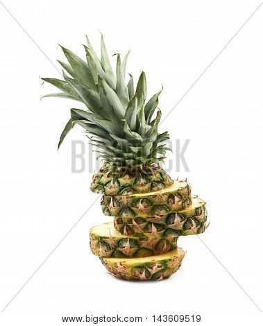 Sliced pineapple fruit isolated over the white background