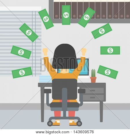 Business woman with raised hands celebrating while sitting at workplace under money rain. Successful business concept. Vector flat design illustration. Square layout.