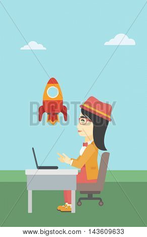 An asian young business woman sitting at the table and looking at a flying rocket. Business woman working on laptop. Business start up concept. Vector flat design illustration. Vertical layout.
