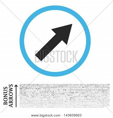 Up-Right Rounded Arrow icon with 1200 bonus arrow and direction pictograms. Glyph illustration style is flat iconic bicolor symbols, blue and gray colors, white background.