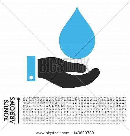 Water Service icon with 1200 bonus arrow and navigation pictograms. Glyph illustration style is flat iconic bicolor symbols, blue and gray colors, white background.