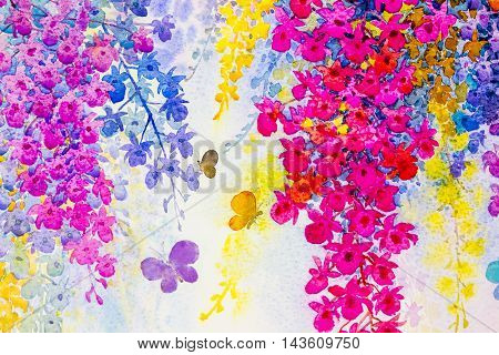 Abstract watercolor original landscape painting imagination colorful of beauty orchid flowers with butterfles and emotion in blue background.