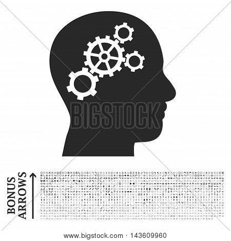 Brain Gears icon with 1200 bonus arrow and navigation pictograms. Glyph illustration style is flat iconic symbols, gray color, white background.