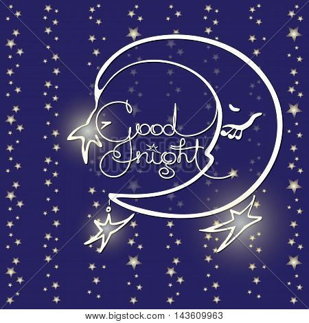 Good night. Vector illustration of handwritten words, moon and stars on blue background. Quote typography background design. Greeting card.