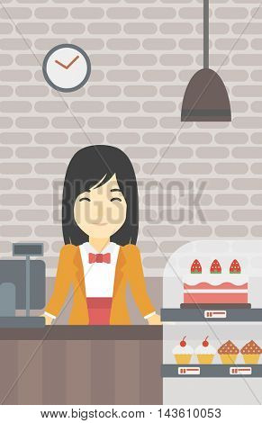 An asian smiling female bakery worker offering different pastry. A bakery worker standing behind the counter with cakes at the bakery. Vector flat design illustration. Vertical layout.