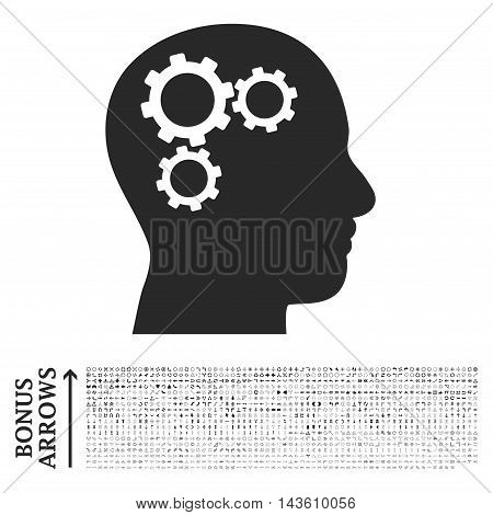 Brain Gears icon with 1200 bonus arrow and direction pictograms. Glyph illustration style is flat iconic symbols, gray color, white background.