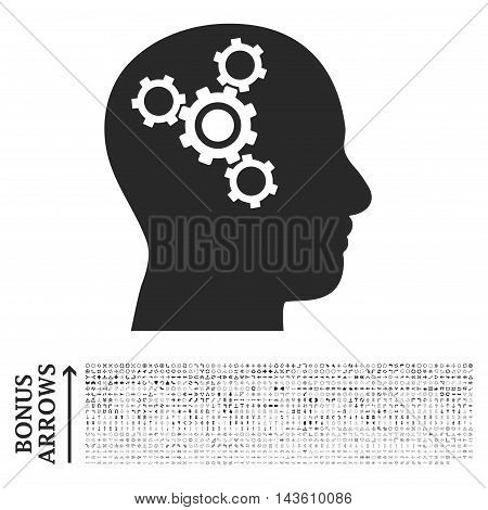Brain Mechanics icon with 1200 bonus arrow and navigation pictograms. Glyph illustration style is flat iconic symbols, gray color, white background.