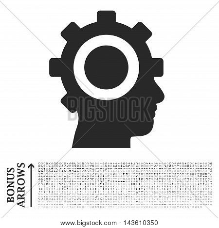 Cyborg Gear icon with 1200 bonus arrow and direction pictograms. Glyph illustration style is flat iconic symbols, gray color, white background.