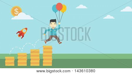 An asian businessman with balloons flying over gold coins and rocket flying nearby. Business start up and growth concept. Vector flat design illustration. Horizontal layout.