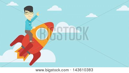 An asian businessman flying on the business start up rocket and pointing his forefinger up. Successful business start up concept. Vector flat design illustration. Horizontal layout.