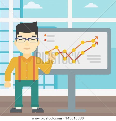 An asian young businessman pointing at charts on a board during business presentation. Happy businessman giving business presentation. Vector flat design illustration. Square layout.