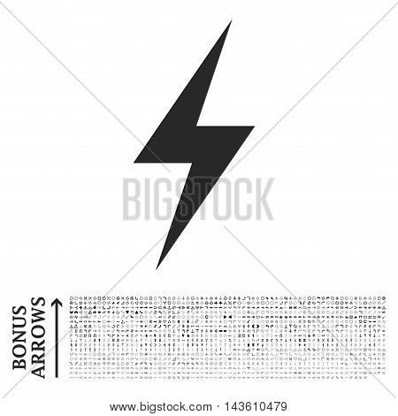Electricity icon with 1200 bonus arrow and navigation pictograms. Glyph illustration style is flat iconic symbols, gray color, white background.