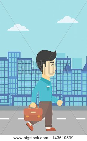 An asian young businessman walking with a briefcase. Businessman walking down the street. Vector flat design illustration. Vertical layout.