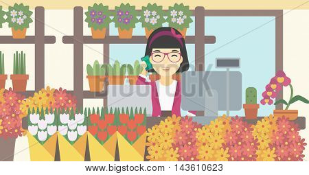 An asian female florist using telephone and laptop to take orders for flower shop. An excited florist standing behind the counter at flower shop. Vector flat design illustration. Horizontal layout.
