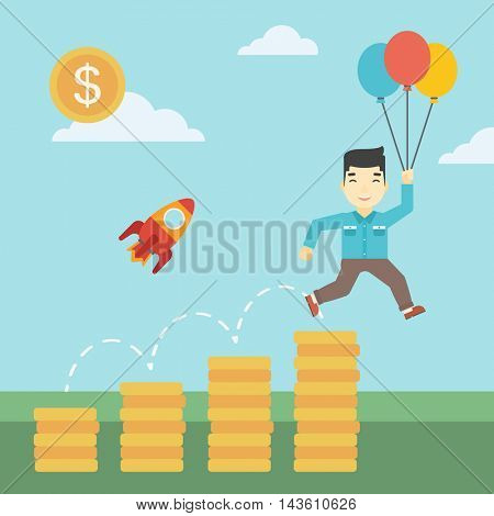 An asian businessman with balloons flying over gold coins and rocket flying nearby. Business start up and growth concept. Vector flat design illustration. Square layout.