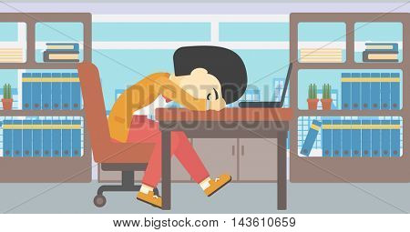 An asian  tired business woman sleeping on laptop keyboard in the office. Young business woman resting at workplace. Vector flat design illustration. Horizontal layout.
