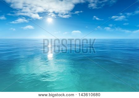 3d rendering of a beautiful blue sea background
