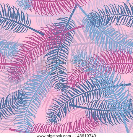 Vintage seamless palm leaf pattern background. Tropical leaves vector backdrop for print or website.