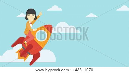An asian business woman flying on the business start up rocket and pointing forefinger up. Successful business start up concept. Vector flat design illustration. Horizontal layout.