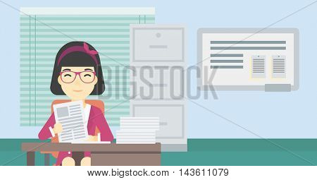 An asian  human resources manager reading application portfolios in the office. Concept of recruitment of staff, job interview. Vector flat design illustration. Horizontal layout.