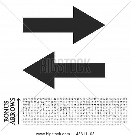 Horizontal Flip Arrows icon with 1200 bonus arrow and direction pictograms. Glyph illustration style is flat iconic symbols, gray color, white background.