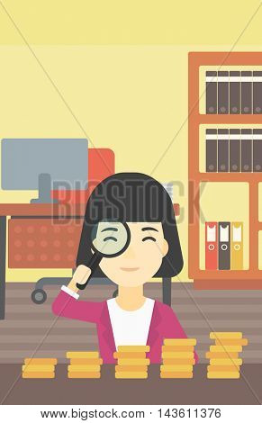 An asian business woman sitting in the office and looking at stacks of golden coins through magnifier. Vector flat design illustration. Vertical layout.