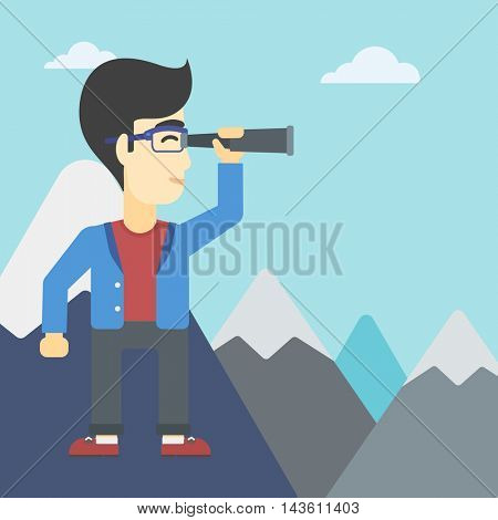 An asian businessman standing on the top of mountain with spyglass. Young businessman looking for success and business opportunities. Vector flat design illustration. Square layout.