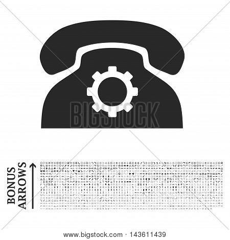 Phone Settings icon with 1200 bonus arrow and navigation pictograms. Glyph illustration style is flat iconic symbols, gray color, white background.