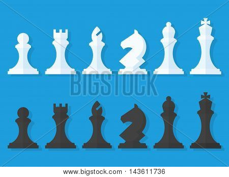 Vector set of black and white chess pieces in a flat style isolated from the background. Chess pieces including the king queen bishop knight rook and pawn.