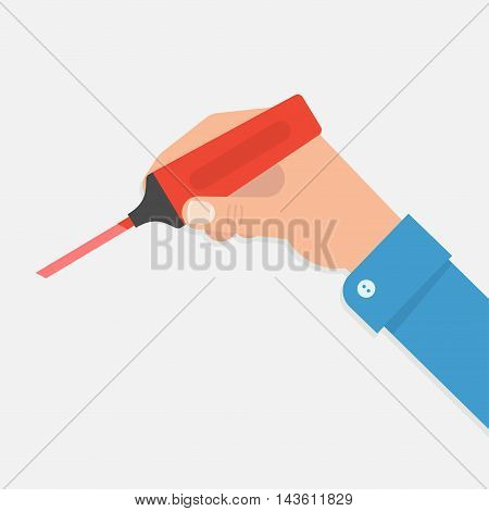 The hand holds a marker in a vector illustration of a flat style. Write underline or highlight something important marker. Hand with red marker.