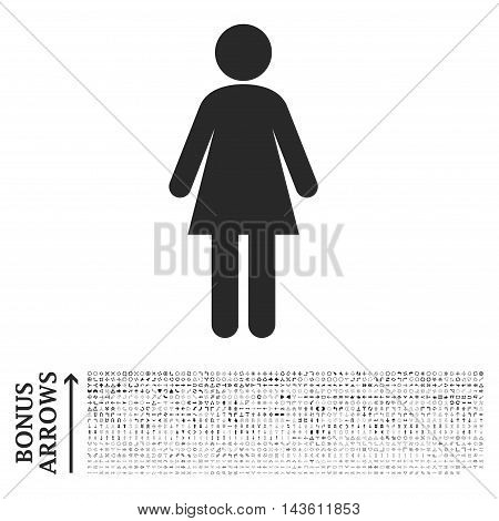 Woman icon with 1200 bonus arrow and direction pictograms. Glyph illustration style is flat iconic symbols, gray color, white background.