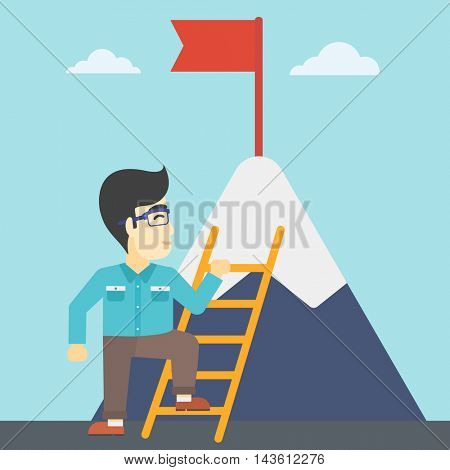 An asian  young businessman standing with ladder near the mountain. Businessman climbing the mountain with a red flag on the top. Vector flat design illustration. Square layout.