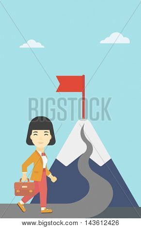 An asian business woman standing at the foot of the mountain. Business woman walking on road leading to flag on the top of the mountain. Vector flat design illustration. Vertical layout.