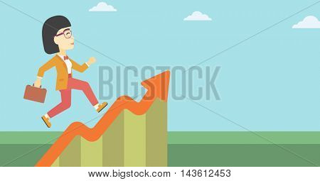 An asian cheerful business woman running along the growth graph. Happy business woman going up. Woman moving up. Successful business concept. Vector flat design illustration. Horizontal layout.
