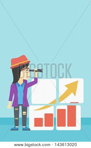 An african business woman looking through a spyglass at chart. Woman searching opportunities for business growth. Business vision concept. Business vector flat design illustration. Vertical layout.