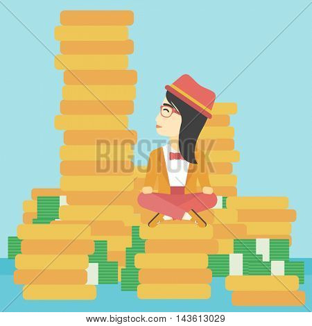 An asian  young business woman sitting on stack of golden coins and looking up to the biggest one. Successful business concept. Vector flat design illustration. Square layout.