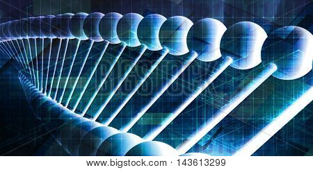 DNA Helix Abstract Background as a Science Concept 3D Illustration Render