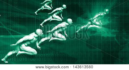 Logistics Delivery with Men Running at Full Speed 3D Illustration Render