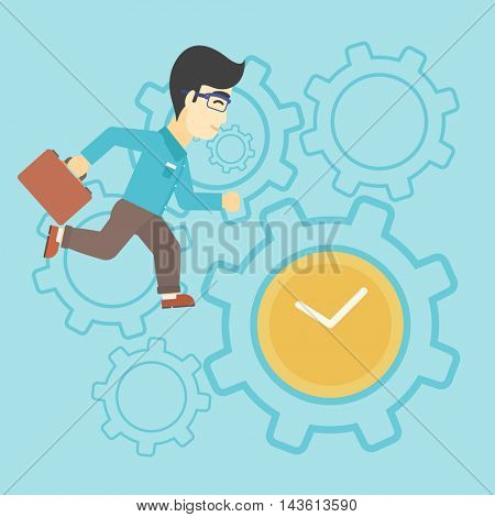 An asian young businessman with briefcase running on a blue background with clock and cogwheels. Vector flat design illustration. Square layout.