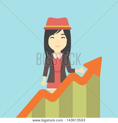 An asian young happy business woman standing behind growing chart. Successful business concept. Vector flat design illustration. Square layout.