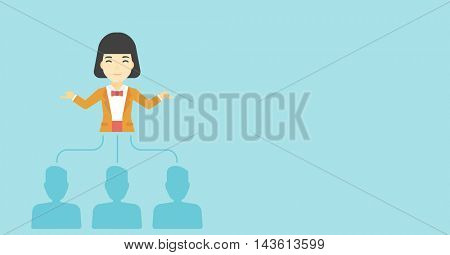 Three employees linked with an asian business woman. Young business woman choosing employee. Concept of searching for stuff. Vector flat design illustration. Horizontal layout.