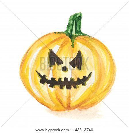 Watercolor scary pumpkin. Spooky face for Halloween. October festival.
