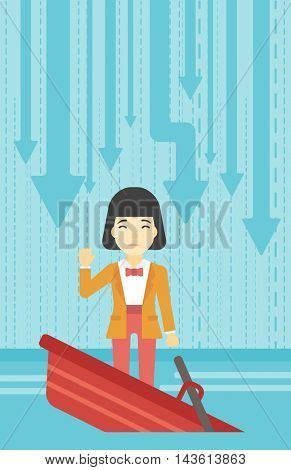 An asian business woman standing in a sinking boat and asking for help. Concept of business bankruptcy. Vector flat design illustration. Vertical layout.