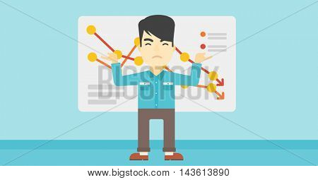 Stressed young asian businessman standing on the background of a board with decreasing chart. Concept of business bankruptcy. Vector flat design illustration. Horizontal layout.