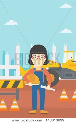 An asian engineer with a blueprint at construction site. Woman holding a twisted blueprint and hard hat. Woman checking construction works. Vector flat design illustration. Vertical layout.