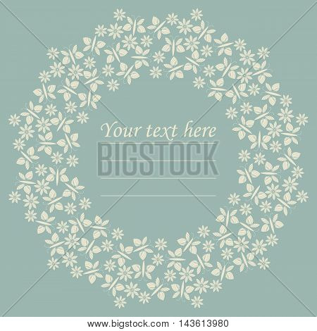 Decorative circle frame with flowers and butterflies. Stylish circle frame can be used for greeting card, baby shower card, invitation, cover and more designs.