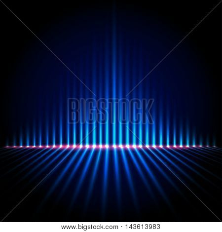 Techno perspective equalizer, blue abstract technology vector background