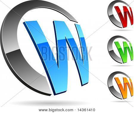 """Letter """"W"""" symbol. Vector illustration."""