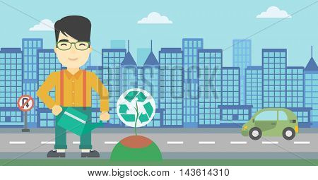 An asian young man watering a tree with a recycle sign instead of crown on a city backround. Eco-friendly man takes care of the environment. Vector flat design illustration. Horizontal layout.