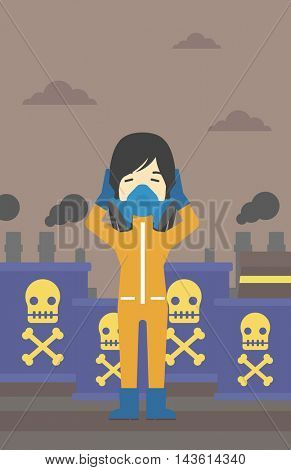 An asian woman in mask and radiation protective suit clutching head while standing on a background of radioactive barrel. Vector flat design illustration. Vertical layout.
